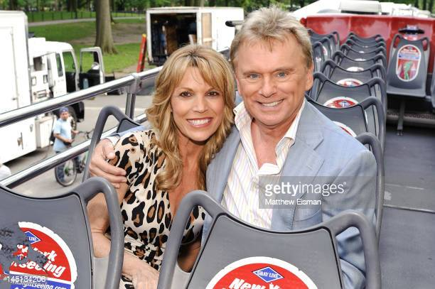 The hosts of Wheel of Fortune Vanna White and Pat Sajak are honored by Gray Line New York's Ride Of Fame Campaign in Central Park on May 23, 2012 in...