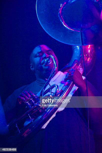 The Hot 8 Brass Band performs on stage at O2 Academy on May 20, 2014 in Oxford, United Kingdom.
