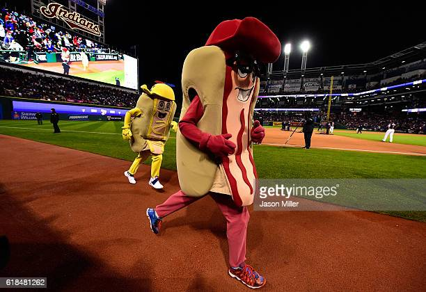 The hot dog race is seen during Game Two of the 2016 World Series between the Chicago Cubs and the Cleveland Indians at Progressive Field on October...