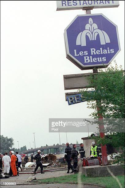 The hotel and restaurant Les Relais Bleus escaped damage after an Air France Concorde crashed nearby July 25 2000 in Gonesse near Paris France The...