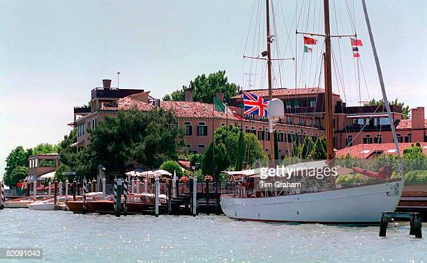 The Hotel Cipriani In Venice Italy With Yacht Moored Alongside Flying Union Jack Flag For Royal Visit As Princess Diana Is Staying In This Hotel