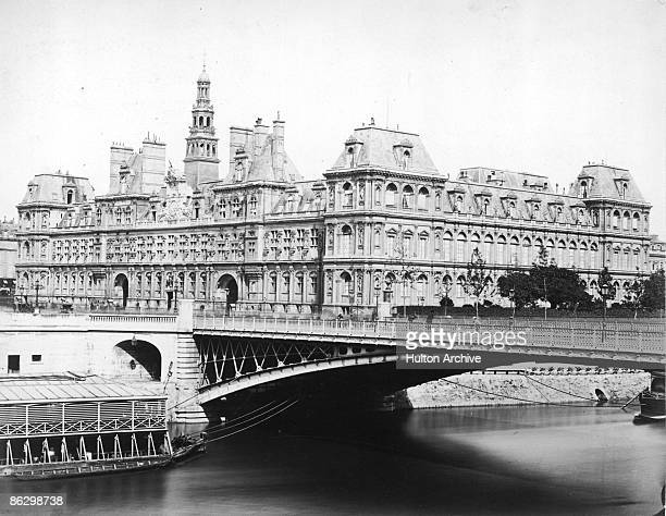 The Hotel de Ville or City Hall in Paris 1858 In the foreground is the Pont d'Arcole over the River Seine