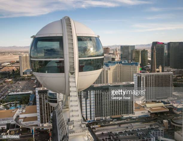 The hotels and casinos on The Strip are viewed from the High Roller observation Ferris wheel located between the Linq and Flamingo Hotels on May 29...