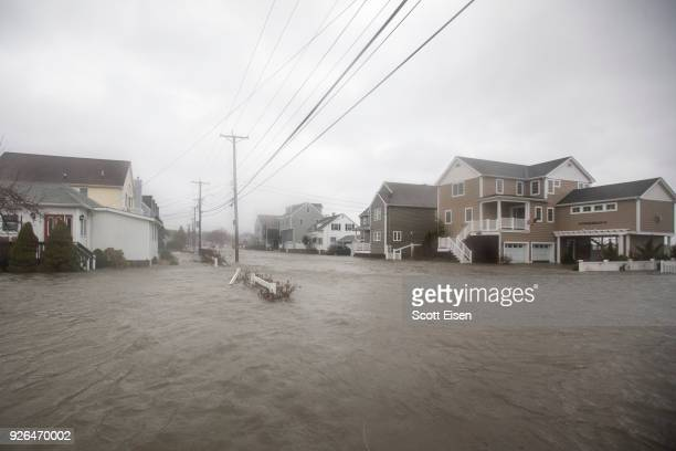 The Hough's Neck area is completely flooded due to a strong coastal storm on March 2 2018 in Quincy Massachusetts A nor'easter hit the east coast on...