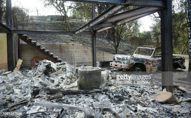 The house belonging to actor Gerard Butler destroyed by the Woolsey Fire is seen in Malibu California on November 13 2018 as residents remain under...