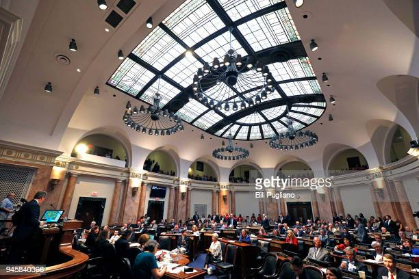 The House Chamber at the Kentucky State Capitol is shown as the legislature tries to wrap up its session by tomorrow April 13 2018 in Frankfort...