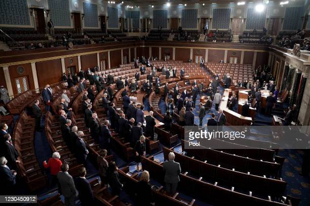 The House Chamber is seen during a joint session of Congress to count the Electoral College votes from the 2020 presidential election on January 6,...