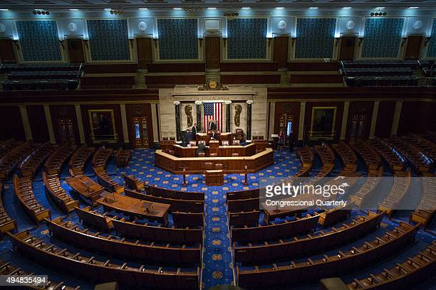 STATES OCTOBER 29 The House Chamber of the US Capitol is seen before congressmen arrive to elect a new Speaker of the House in Washington Thursday...