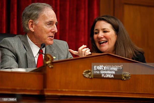 The House Energy and Commerce Committee's Oversight and Investigations Subcommittee Chairman Cliff Stearns talks with ranking member Rep Diana...