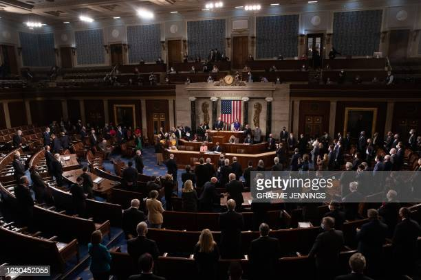 The House floor convenes before a joint session of the House and Senate convenes to confirm the Electoral College votes cast in November's election,...