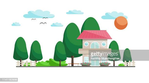the house in chinese style with the little green park illustration. - house icon stock pictures, royalty-free photos & images