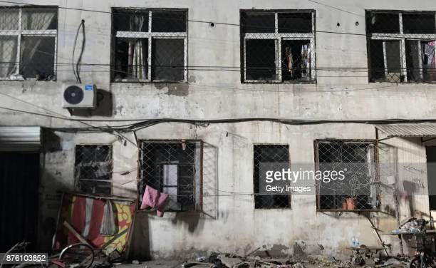 The house is seen after a fire at Daxing District on November 19 2017 in Beijing China Nineteen people were killed and eight others were injured in a...