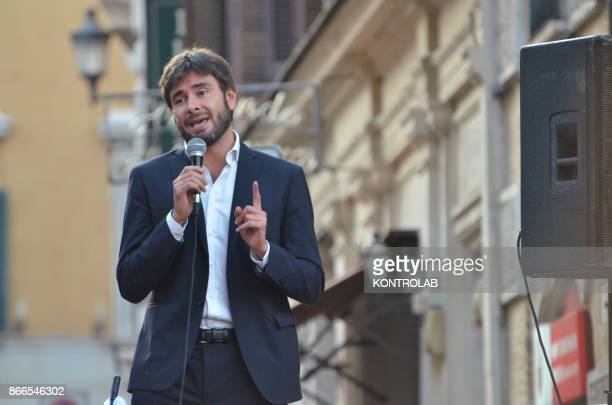 The House member of the Movimento 5 Stelle party Alessandro Di Battista speaks during a protest against the new electoral law under approval in...