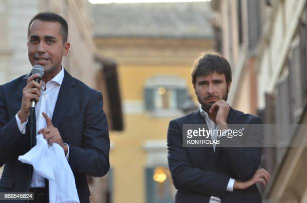The House members of the Movimento 5 Stelle party Luigi Di Maio and Alessandro Di Battista speaks during a protest against the new electoral law...
