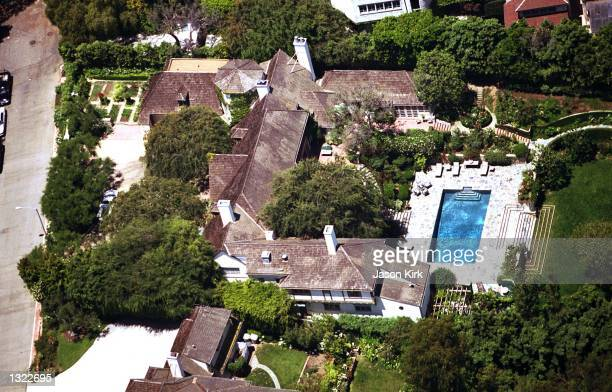 The house of actor Brad Pitt and Jennifer Aniston as seen from the air June 18 2001 in Malibu CA