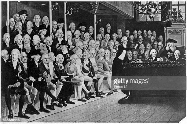 The House of Commons in London in 1793, after France declaration of war. William Pitt addressing the House of Commons on the French Declaration of...