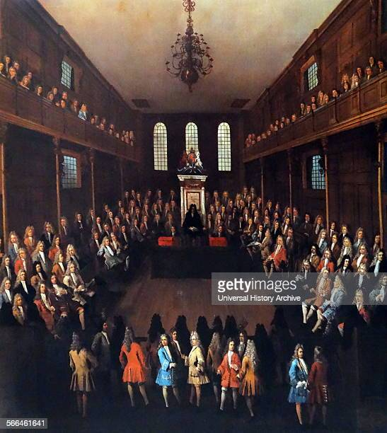 The House of Commons in session 1710 Sir Richard Onslow in the Speaker's chair From a painting by Peter Tillemans From The Island Race a 20th century...