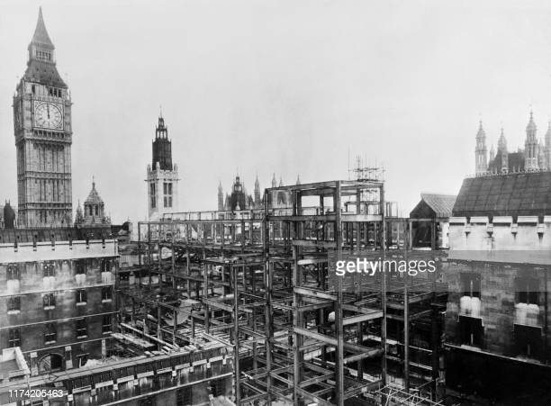 The House of Commons which was seriously damaged by the Blitz bombings during the Second World War is under reconstruction in January 1948 in London