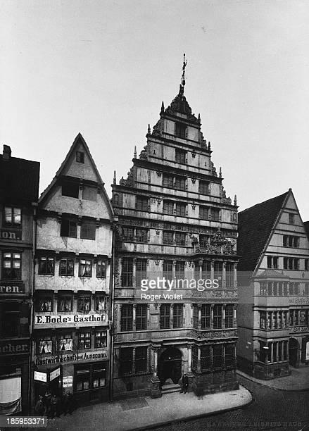 The house of Gottfried Wilhelm Leibniz , German philosopher and mathematician. Hanover . Circa 1900.