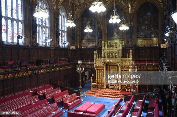 The House of Lords chamber is pictured ahead of the State Opening of Parliament at the Houses of Parliament in London on May 11 which is taking place...