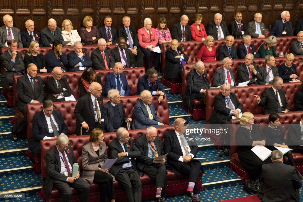 The House of Lords chamber sits in session after Norman Fowler, the Lord Speaker delivered a report to members at the Houses of Parliament on October 31, 2017 in London, England. The report into the future of the upper chamber has recommended that the House of Lords should be reduced in size by a quarter to no more than 600 members.