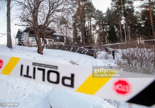The house of Norwegian multimillionaire Tom Hagen is cordonned off in Fjellhamar East of Oslo on January 9 2019 as his wife AnneElisabeth Falkevik...