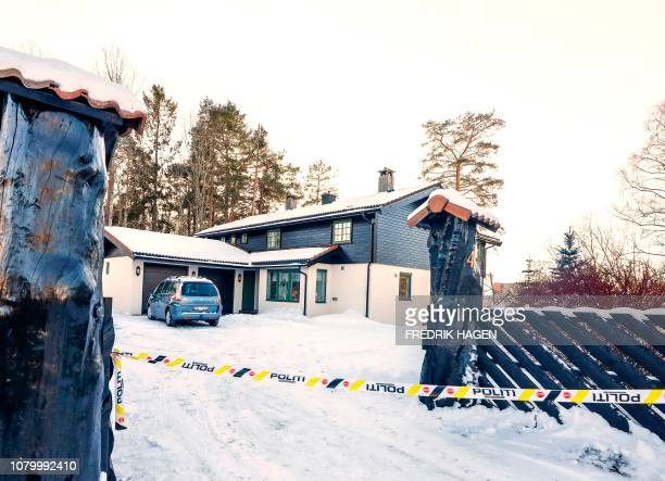 The house of Norwegian multimillionaire Tom Hagen is cordonned off on January 10 2019 as his wife AnneElisabeth Falkevik missing for 10 weeks is...