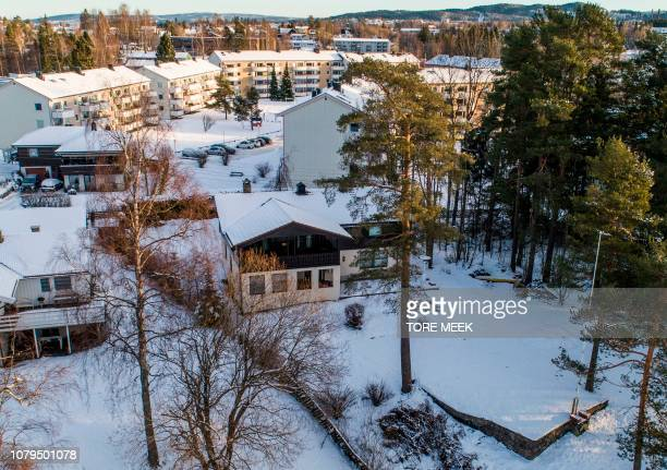 The house of Norwegian multimillionaire Tom Hagen is pictured in Fjellhamar East of Oslo on January 9 2019 as his wife AnneElisabeth Falkevik missing...