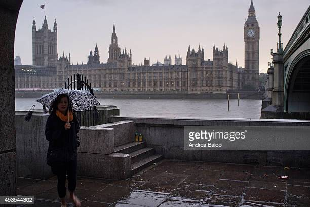 The House of Parliament the Big Ben and the Westminster Bridge seen as the Hurricane Bertha hits London