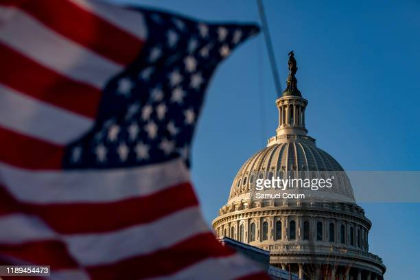 The House of Representatives continues to debate two Articles of Impeachment of President Donald Trump at US Capitol on December 18, 2019 in...