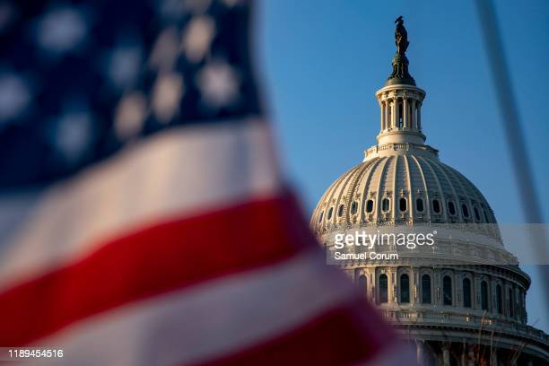 The House of Representatives continues to debate two Articles of Impeachment of President Donald Trump at US Capitol on December 18 2019 in...