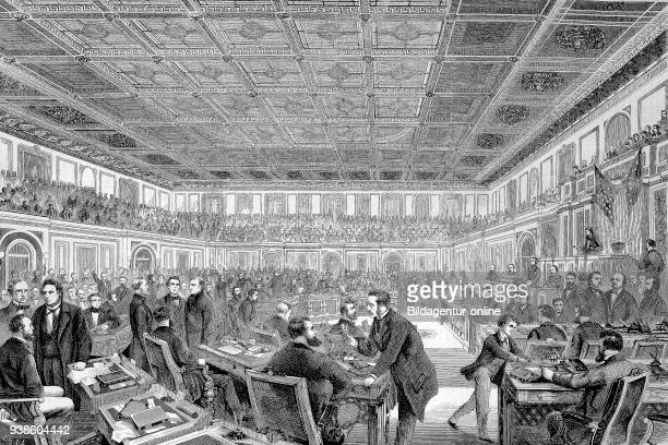 The House of Representatives in Washington America Johnson's impeachment trial in the United States Senate Andrew Johnson 1808 1875 the 17th...