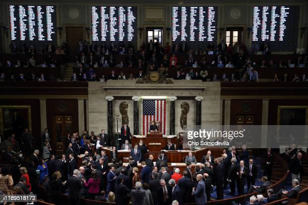The House of Representatives votes on the second article of impeachment of US President Donald Trump at in the House Chamber at the US Capitol...