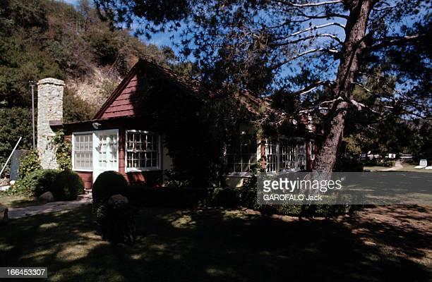 The House Of Sharon Tate Californie Bel Air octobre 1969 la propriété de Sharon TATE actrice américaine prise de vue générale des pins au premierplan