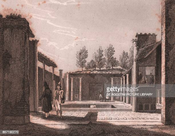 The House of the Quaestor in Pompeii Campania Italy steel engraving from L'Italia la Sicilia le isole Eolie l'isola d'Elba la Sardegna Malta l'isola...
