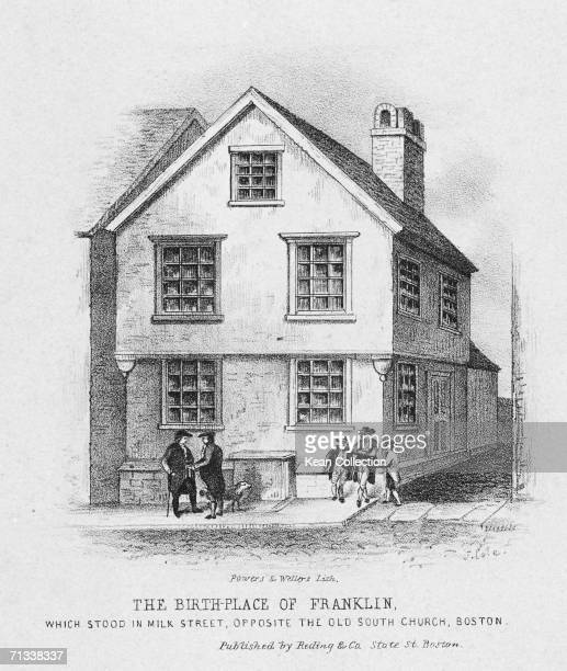 The house on Milk Street Boston where American statesman and inventor Benjamin Franklin was born mid 1700s Engraving by J Cole