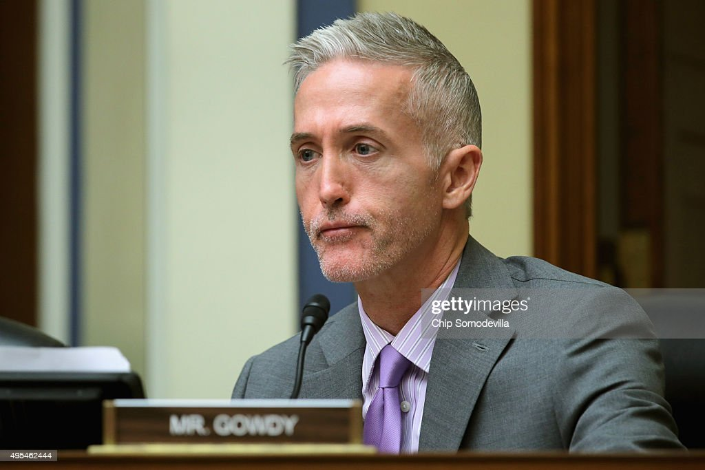 The House Oversight and Government Reform Committee's Select Committee on Benghazi Chairman Trey Gowdy (R-SC) sports the beginnings of a beard as he questions witnesses about lapses in TSA screening in the Rayburn House Office Building on Capitol Hill November 3, 2015 in Washington, DC. Leaked to the news media earlier this year, a TSA inspector general's report found that investigators were able to slip through airport security with weapons and phony bombs more than 95 percent of the time at different airports across the country, constituting 'significant breeches,' according to Homeland Security Inspector General John Roth.