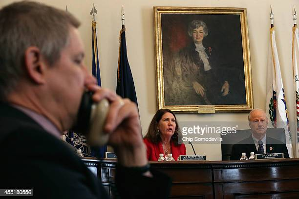 The House Veterans' Affairs Committee's Oversight and Investigations Subcommittee ranking member Rep Ann Kirkpatrick and Chairman Mike Coffman listen...