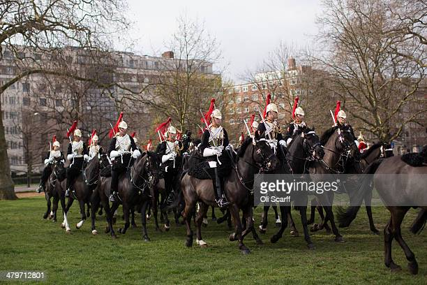 The Household Cavalry Mounted Regiment have their annual 'Major General's Inspection' in Hyde Park on March 20 2014 in London England The annual...