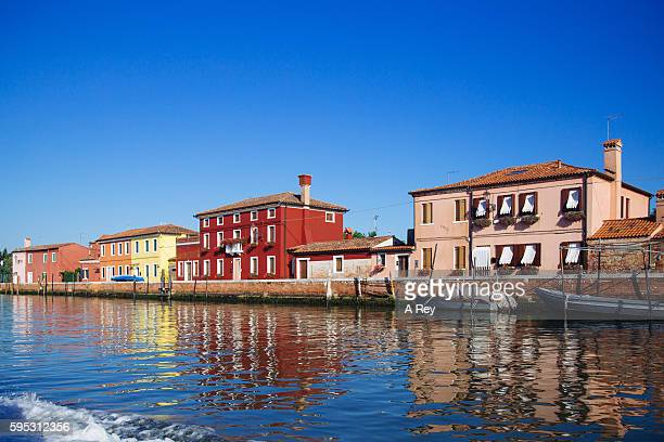 the houses along the canal - murano stock pictures, royalty-free photos & images