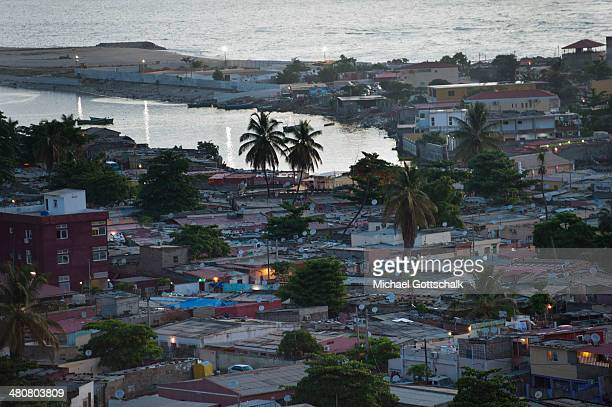 The houses of indigen inhabitants of Luanda next to the coast on March 26 2014 in Luanda Angola