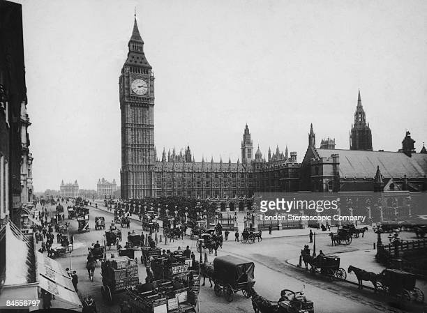 The Houses of Parliament and Big Ben seen from Parliament Square London circa 1897