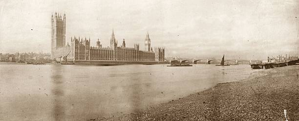 The Houses of Parliament on the River Thames, London....