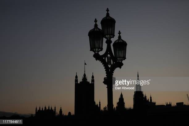 The Houses of Parliament silhouetted against an evening sky on October 22 2019 in London England Prime Minister Boris Johnson published his...