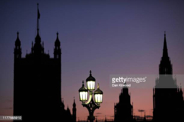 The Houses of Parliament silhouetted against an evening sky on October 22, 2019 in London, England. Prime Minister Boris Johnson published his...