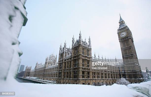 The Houses Of Parliament sit under a blanket of snow after a night of heavy snow on February 2 2009 in London England Heavy snow has fallen across...