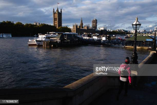 The Houses of Parliament stand beside the River Thames in London England on October 17 2019 Prime Minister Boris Johnson today agreed a new...