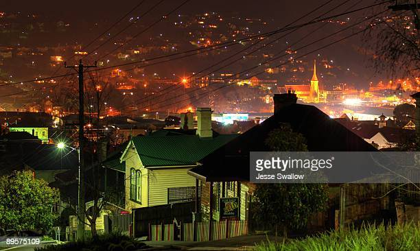 the houses on the hill - launceston australia stock pictures, royalty-free photos & images