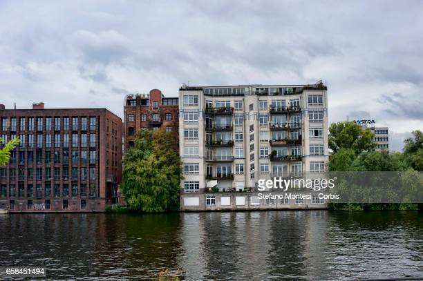 The houses on the River Spree in the district of FriedrichshainKreuzberg on September 16 2013 in Berlin Germany