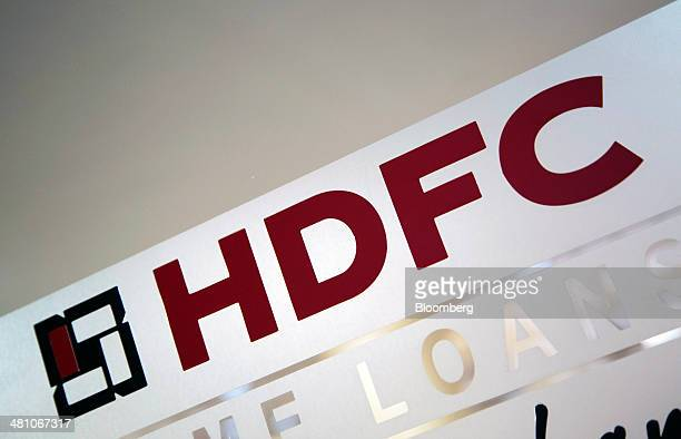The Housing Development Finance Corp logo is displayed inside the bank's branch in Mumbai India on Monday Feb 17 2014 Chief Executive Officer Keki...